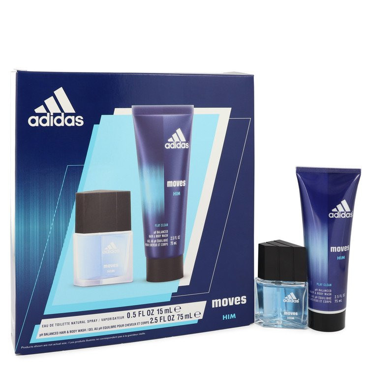 Adidas Moves by Adidas - Gjafasett - .5 oz Eau De Toilette Spray + 2.5 oz Hair & Body Wash f. herra