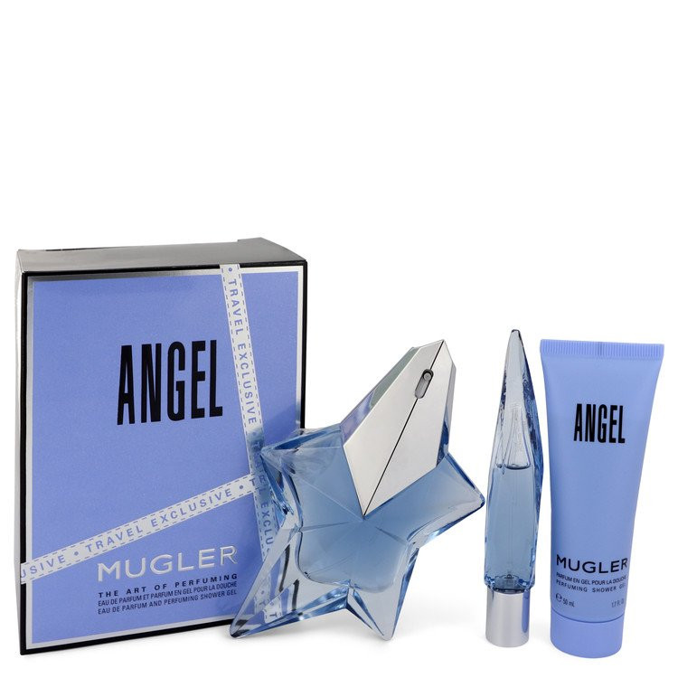 ANGEL by Thierry Mugler - Gjafasett - 1.7 oz Eau De Parfum Spray Refillable + 0.3 oz Mini EDP Purse Spray + 1.7 oz Shower Gel f. dömur