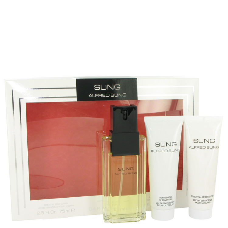 Alfred SUNG by Alfred Sung - Gjafasett - 3.4 oz Eau De Toilette Spray + 2.5 oz Body Lotion + 2.5 oz Shower Gel f. dömur