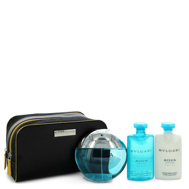 Bvlgari Aqua Marine by Bvlgari - Gjafasett - 3.4 oz Eau De Toilette Spray + 2.5 oz After Shave Balm + 2.5 oz Shower Gel + Pouch f. herra