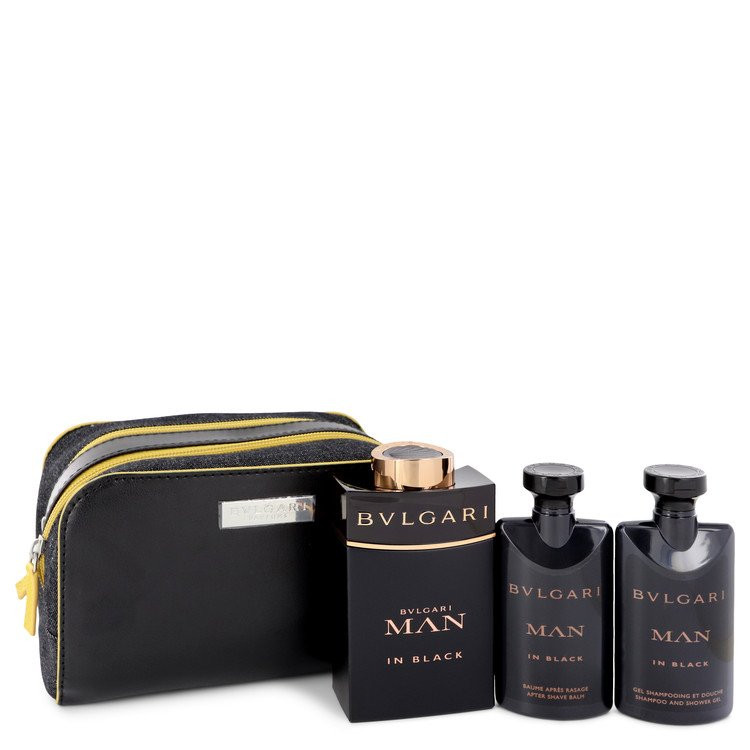 Bvlgari Man In Black by Bvlgari - Gjafasett - 3.4 oz Eau De Parfum Spray + 2.5 oz After Shave Balm +2.5 oz Shower Gel + Free Pouch f. herra
