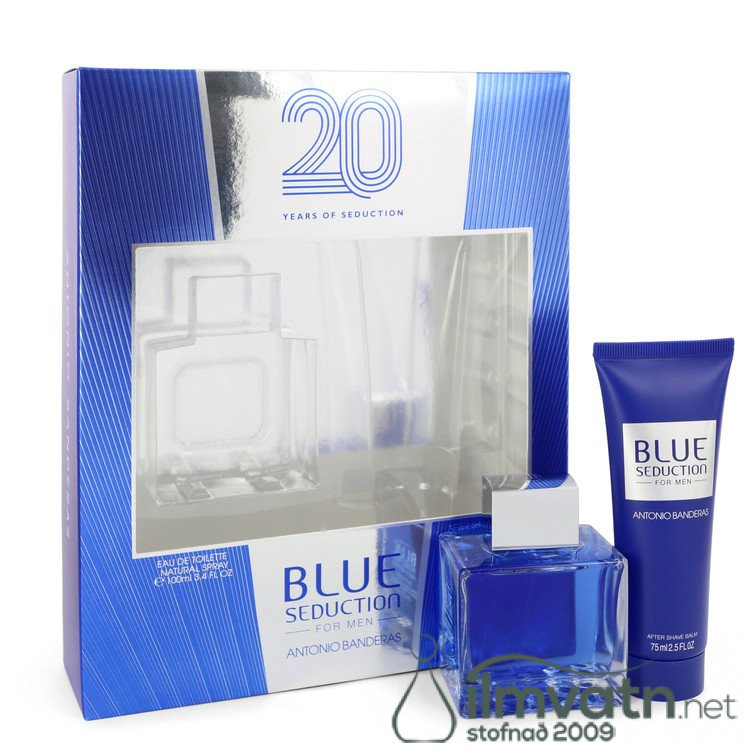 Blue Seduction by Antonio Banderas - Gjafasett - 3.4 oz Eau DE Toilette Spray + 2.5 oz After Shave Balm f. herra