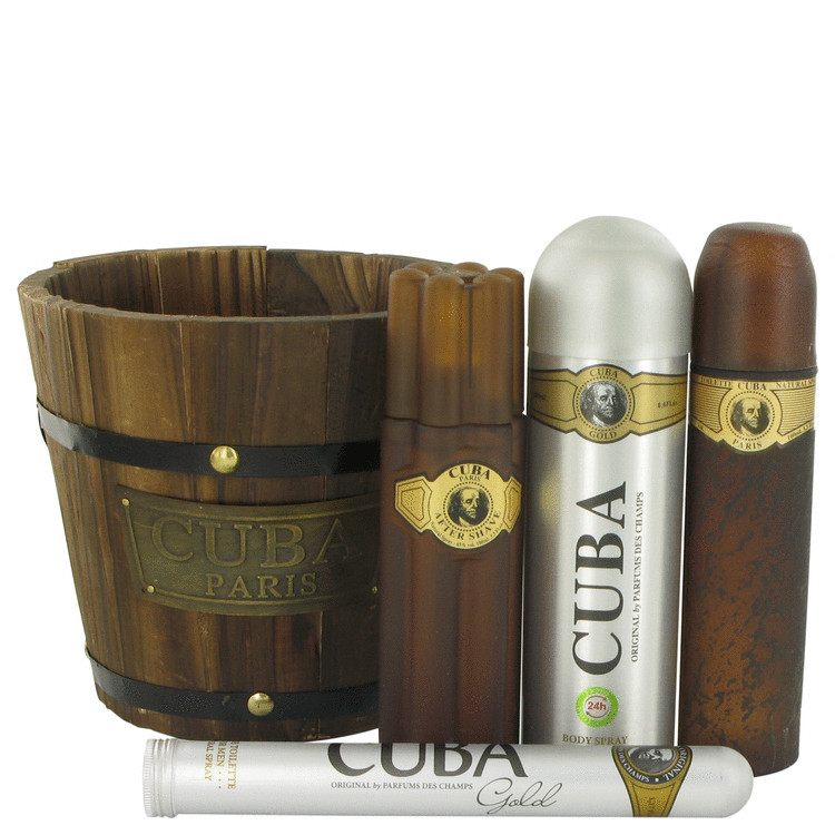Cuba Gold by Fragluxe - Gjafasett - 3.4 oz Eau De Toilette Spray + 1.17 oz Eau De Toilette Spray + 6.7 oz Body Spray + 3.3 oz After Shave f. herra