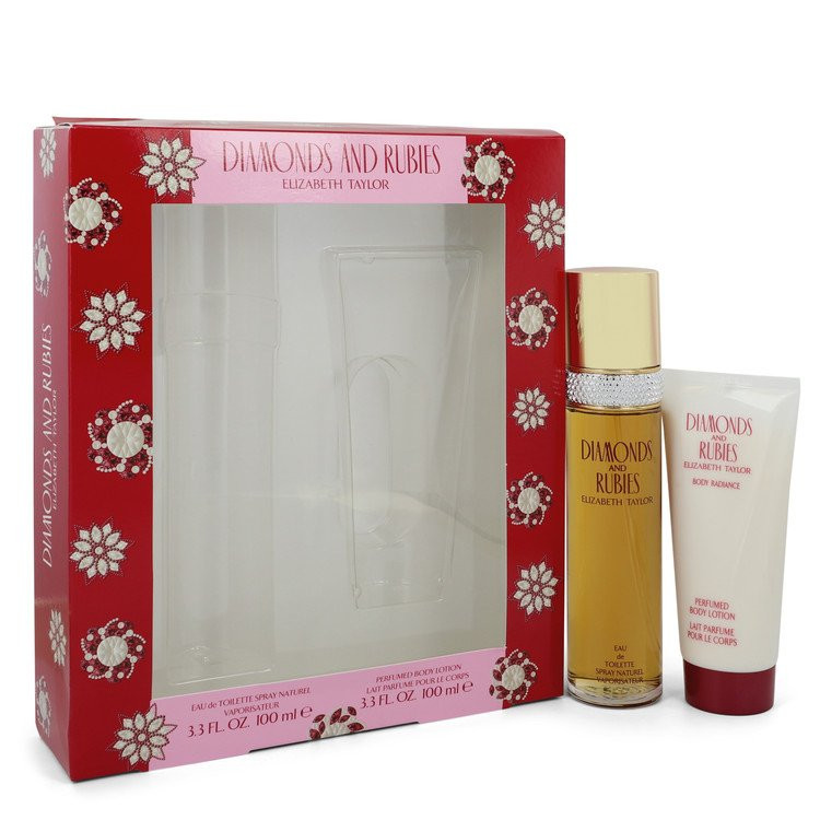 DIAMONDS & RUBIES by Elizabeth Taylor - Gjafasett - 3.3 oz Eau De Toilette Spray + 3.3 oz Body Lotion f. dömur
