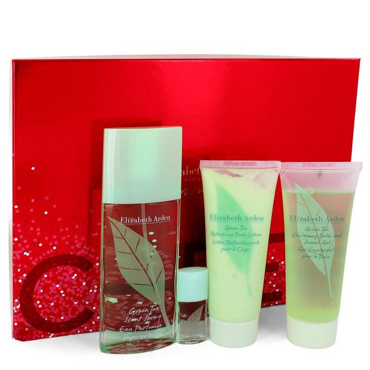 GREEN TEA by Elizabeth Arden - Gjafasett - 3 oz Eau Pafumee Spray + 3.3 oz Shower Gel + 3.3 oz Conditioner + .12 oz Scent Eau Parfumee f. dömur