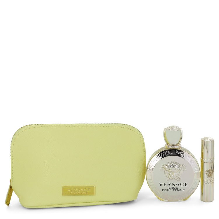 Versace Eros by Versace - Gjafasett - 3.4 oz Eau De Parfum spray + 0.3 oz  Mini EDP Spray  In Versace Yellow Pouch f. dömur