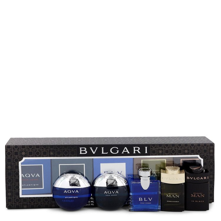 Bvlgari Man In Black by Bvlgari - Gjafasett - Travel Size Gift Set Includes Bvlgari Aqua Atlantique, Aqua Pour Homme, BLV, Man Wood Essence, Man in Black all in .17 oz sizes f. herra