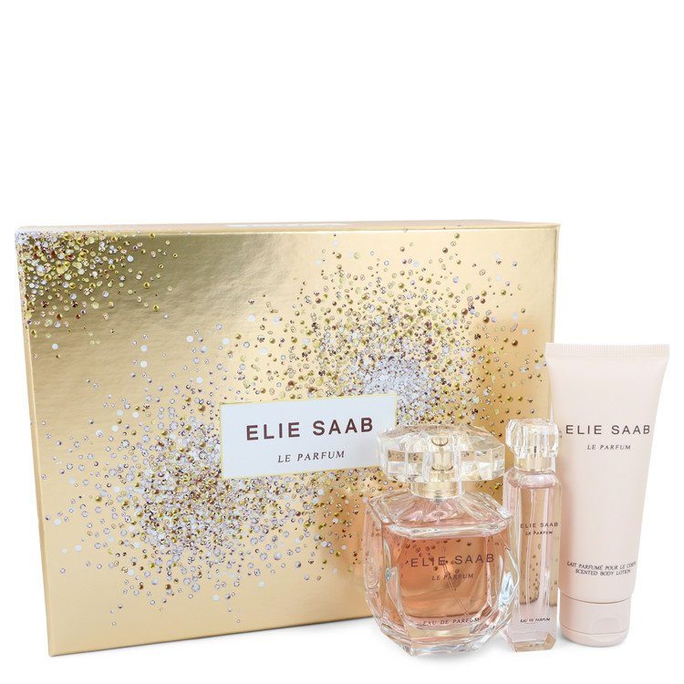 Le Parfum Elie Saab by Elie Saab - Gjafasett - 3 oz Eau De Parfum Spray + .33 oz Travel EDP Spray + 2.5 oz Body Lotion f. dömur